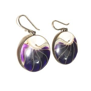 Vintage polished shell purple boho disk earrings